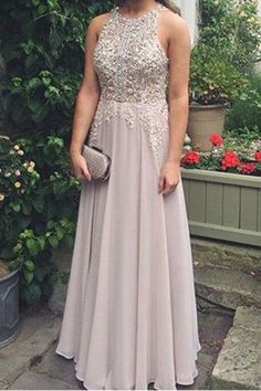 Elegant chiffon lace round neck sequins evening dresses, long prom dress