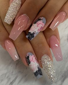 Frensh Nails, Rose Nails, Swag Nails, Pink Nails, Manicure, Grunge Nails, Flower Nails, Coffin Nails, Pink Coffin