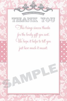 pink damask princess baby shower thank you card printable by on etsy https