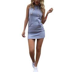 Summer Women Ladies Casual Sport Shirt Hooded Dress Sundress robe Vintage Sexy Slim Bodycon Party Night Club Dresses