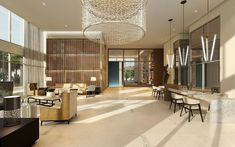 Seazen Apartments at Rocky Point Lobby - Custom LED chandelier and pendants. Rocky Point, Led Fixtures, Led Chandelier, Beautiful Space, Light Decorations, Lighting, Apartments, Furniture, Pendants