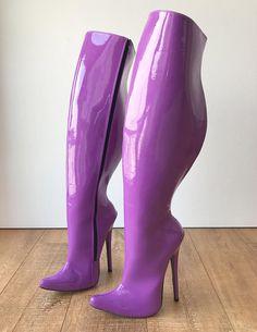 3f71649a45e2 RTBU CHRIS 18cm Stiletto 65cm Hard Shaft Customized Mid-Thigh Boot Purple