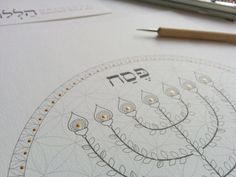 The Menorah Passover Seder Plate-Coloring Page-Jewish | Etsy