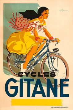 Vintage cycling french europe peugeot poster