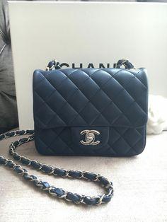 952aa1f355df Chanel square mini lambskin - navy blue  Chanelhandbags