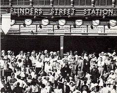 vintage photo of MELBOURNE AUSTRALIA, Flinders Street station in 1960s, BW photograph
