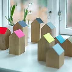 Easy DIY from scrap wood to decorate a windowsill or table, make them of different heights, maybe paint a door and window on, words, a bird...limitless :)