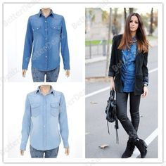 Womens jeans denim collar long sleeve one size Long Blouse