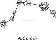 'Aries Zodiac Wildflower Constellation' Sticker by aterkaderk – Constellation Tattoo Aries Star Constellation, Constellation Tattoos, Zodiac Sign Tattoos, Aries Tattoos, Aries Zodiac, Aries Art, Horoscope Capricorn, Capricorn Facts, Wildflower Tattoo