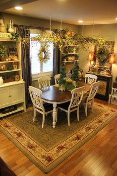 Tuscan inspired home tour in the Pacific Northwest - Debbiedoo's Vintage ladder hung over dining table and decorated with the seasonal deco I Have Have The Same Rug And Runner In My Dining Room Love This Room❤️ Tuscan Decorating, French Country Decorating, Decorating Ideas, Dining Room Design, Dining Room Table, Dining Set, Dining Decor, Patio Table, Tuscany Decor