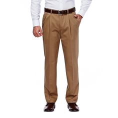 Men's Haggar® Work to Weekend® Classic-Fit Pleated Expandable Waist Pants, Size: 34X30, Dark Beige
