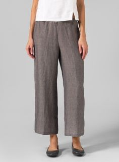 Linen Wide Ankle Length Cropped Pants