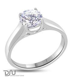 1.15 CT E/VS2 ROUND DIAMOND SOLITAIRE ENGAGEMENT RING 14K WHITE GOLD NO RESERVE .. USD 931.0