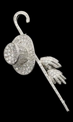 Art Deco diamond brooch, American, 1930s