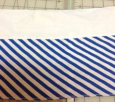 Blue Stripe Cotton BLend Trim   8 inches wide    1 yard