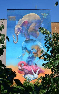"""Balance"" – art by 140 Ideas in Sofia, Bulgaria - photo from Street Art News; from the bottom: bumblebee - fish - bunny - flamingo - iguana - walrus - elephant Murals Street Art, Graffiti Art, Street Art Utopia, Street Art News, Best Street Art, 3d Street Art, Amazing Street Art, Street Artists, Amazing Art"