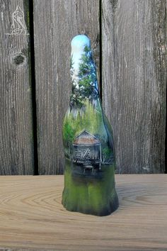 Way Out There-Hand painted Louisiana cypress knee with Louisiana bayou swamp, cypress trees and rustic cabin. Approx tall with a 4 base. Finished with clear semi-gloss polyurethane finish for protection. Rock Painting, Painting On Wood, Cypress Knees, Painted Rocks, Hand Painted, Louisiana Bayou, Country Barns, Farm Art, Got Wood