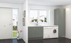 Vegg vaskerom Work Surface, Modern Kitchen Design, Washing Machine, Ikea, Home Appliances, Velvet, Pictures, House Appliances, Ikea Co