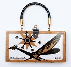 "Enid Collins ""Road Runner"" Box Bag (black & white). This is the iconic wooden box purse Enid made."