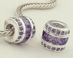 1pc 925 Sterling Silver Charms Purple Crystal Beads Compatible with Pandora Chamilia Kay Troll European Bracelets