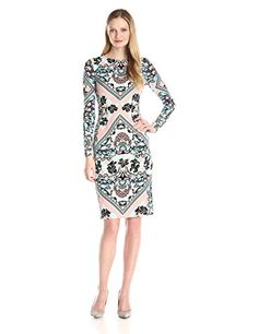"""Maggy London Women's Placed Folkloric Flower Jersey Sheath Dress"