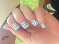 Cute blue and polka dot nails :) spring is here!!