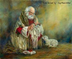 Love Love Love Love this picture!!!!!!! adoring Santa and Christ Child | Santa holding Christ Child | Santa