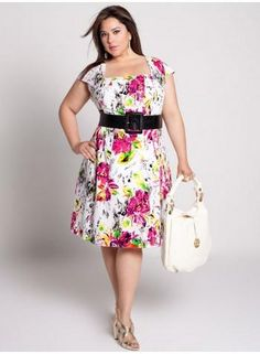 Cheap Plus Size Fashion Belts Summer Dresses Floral Prints