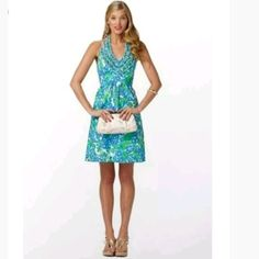 8861009d170c1e Lilly pulitzer Lillian Ruffled Halter Dress Size 8. gorgeous lined cotton  dress in shades of