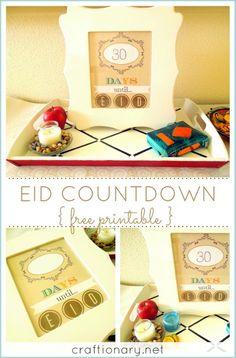 Ramadan calendar free printable for decorative Eid home idea. Print and hang in a frame or board. Ramazan till Eid countdown for roza (fast) counting daily Fasting Ramadan, Islam Ramadan, Ramadan Gifts, Eid Crafts, Crafts For Kids, Ramadan Celebration, Muslim Holidays, Eid Party, Eid Al Fitr