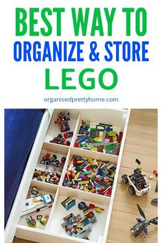 The Best Way To Store Lego - Organised Pretty Home - LEGO Storage Solutions - What is the best way to store the kids' Lego? Lego organization with these storage ideas and solu - Small Space Organization, Playroom Organization, Playroom Ideas, Organizing Toys, Storage Organization, Organizing Ideas, Lego Storage, Storage Ideas, Toy Storage Solutions
