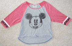 Mickey Mouse Disney T Shirt Top Grey Red Black White 3/4 Sleeve #Disney #GraphicTee