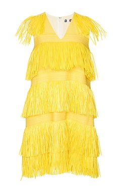 MSGM YELLOW V-NECK DRESS WITH FRINGES