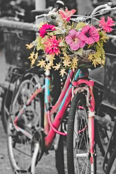 Bicycle photography Print, Black and White Bicycle with Flowers wall decor, Shabby Chic on Etsy, $45.00. cute baby girl room wall art!
