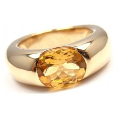 CARTIER ELLIPSE 18K YELLOW GOLD LARGE CITRINE THICK BAND RING