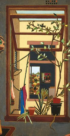 Through Windows, 1984 by Cressida Campbell on Curiator, the world's biggest collaborative art collection. Contemporary Australian Artists, Artist Sketchbook, Collaborative Art, No Photoshop, Gravure, Art Auction, Art Inspo, Flower Art, Painting & Drawing