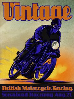 VINTAGE gets me stoked to ride. To bad its zero degrees outside. Vintage British Motorcycle Racing