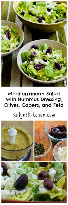 Mediterranean Salad with Hummus Dressing, Olives, Capers, and Feta!  I'd love this for a side dish or main dish salad any time of year.  [from KalynsKitchen.com]