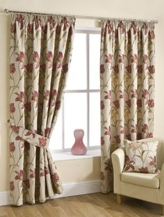 Cream Ready Made Pencil Pleat Curtain Pair Floral Tapestry Design Pleated Curtains, Lined Curtains, Patterned Curtains, Floral Curtains, Curtain Patterns, Curtain Designs, Cottage Curtains, Luxury Curtains, Pencil Pleat