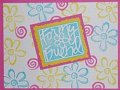 Stampin' Up! Vivid Greetings-Color in the stamped flowers to make this card pop even more. Mix up the colors with coordinating new inks. Use masking technique with leaf a stamp from Bloomin Marvelous or Framed Fun.
