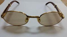 Cartier Sunglasses (Men's Pre-owned Vinrtage Monceau Gold & Wood Brown Lens Designer Sun Glasses)
