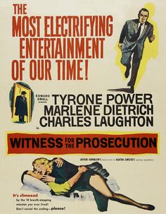 Witness for the Prosecution was released 57 years ago today starring Marlene Dietrich & Tyrone Power in his last film