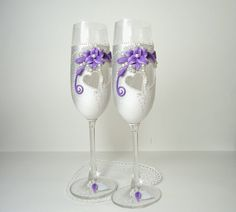 White Silver Purple Hand Decorated Wedding by JoliefleurDeco