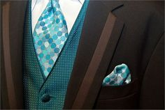 Black and turquoise groomswear