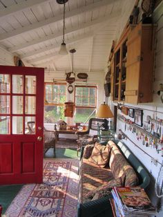 Vivid Hue Home: Relaxing, Adirondack Style! Vivid Hue Home: Relaxing, Adirondack Style! Cabin Porches, Home Porch, Colorful Interior Design, Colorful Interiors, Adirondack Decor, Vintage Cabin, Lake Cottage, Cozy Cottage, Lodge Style