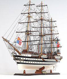 "CaptJimsCargo - Amerigo Vespucci Wooden Model 36"" Italian Tall Training Ship, (http://www.captjimscargo.com/model-tall-ships/training-ships/amerigo-vespucci-wooden-model-36-italian-tall-training-ship/) Included with this tall ship model is the Italian national and navy flags."