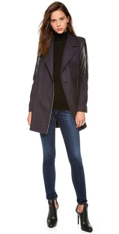 Cut25 by Yigal Azrouel Leather Combo Coat | SHOPBOP