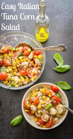 A delicious Summer recipe, An Easy Italian Tuna Corn Salad, fast and full of tomatoes, corn, and all fresh ingredients. A Summer favorite.