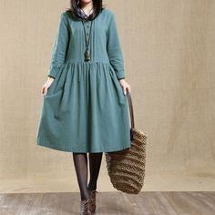 Spring Women Loose Cotton-Linen Dress