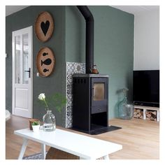 Freestanding Fireplace, Back Doors, Home Living Room, My Dream Home, Sweet Home, Wall Lights, New Homes, Blue And White, Indoor